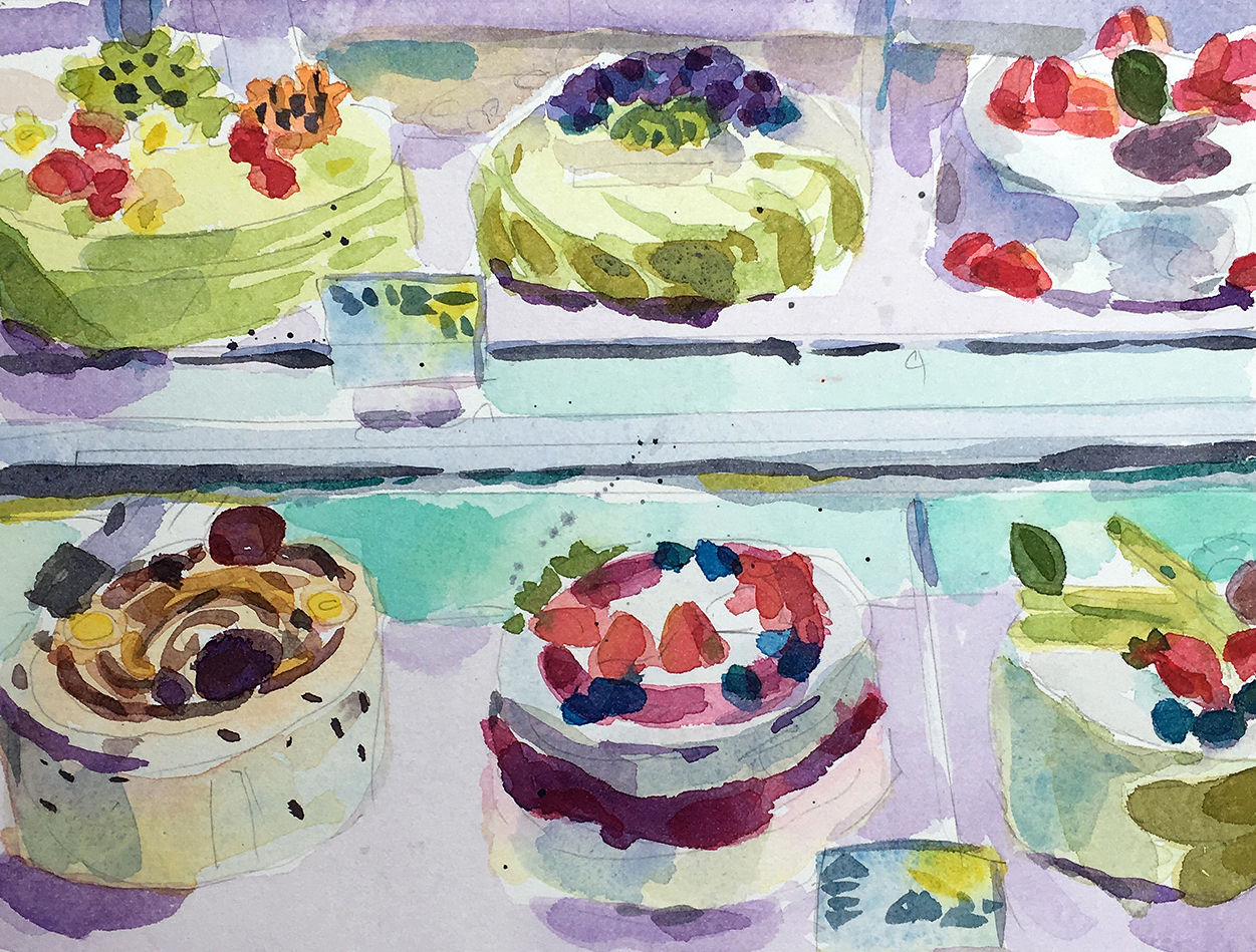 """Six Cakes , watercolor on paper, 11"""" x 14 1/4"""" framed, $450"""