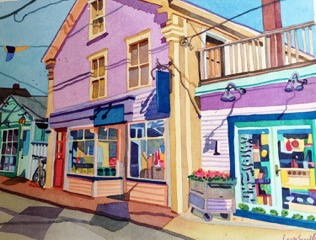 """Commercial Street, Provincetown , watercolor, gouache on paper, 21"""" x 25"""" framed, sold"""