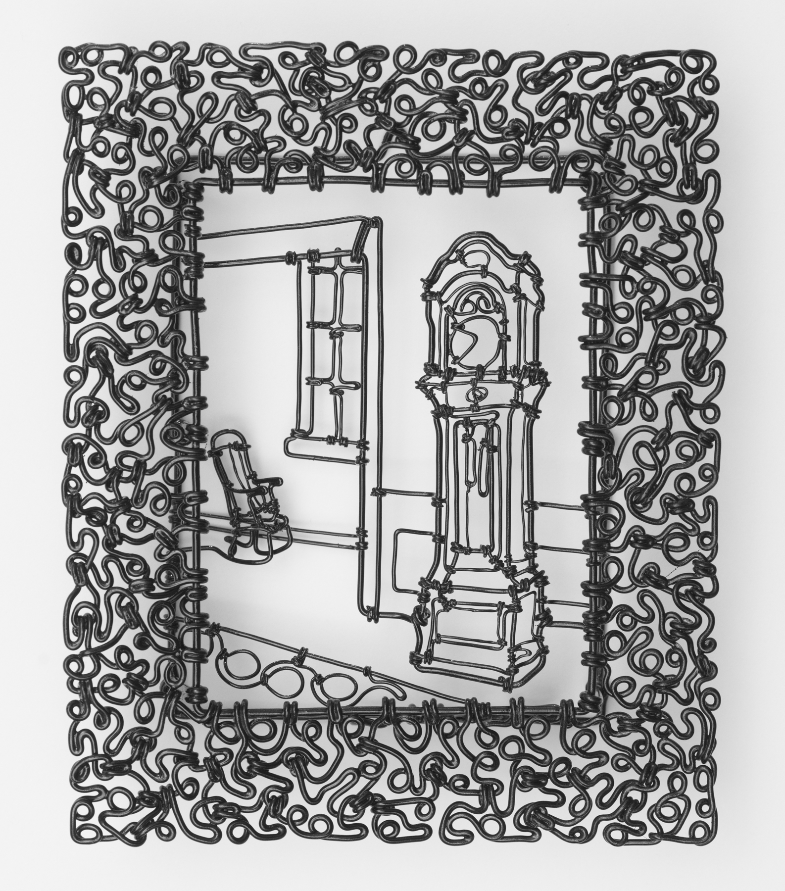 """A Clock, A Rocking Chair, A Window and A Rug , painted steel wire, 5 3/4"""" x 4 3/4"""" x 3/4"""", sold"""