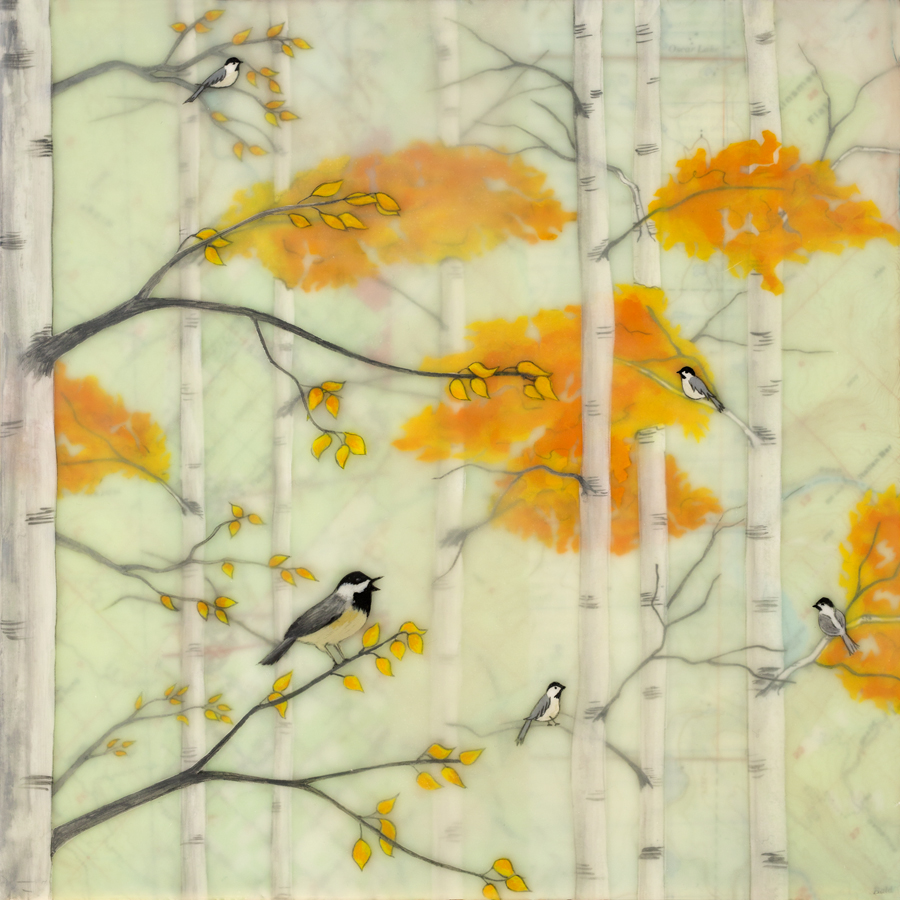 "Autumn Chickadees , encaustic, rice paper, gouache, topical map mounted on birch panel with reclaimed beach fence frame, 10"" x 10"" framed, sold"