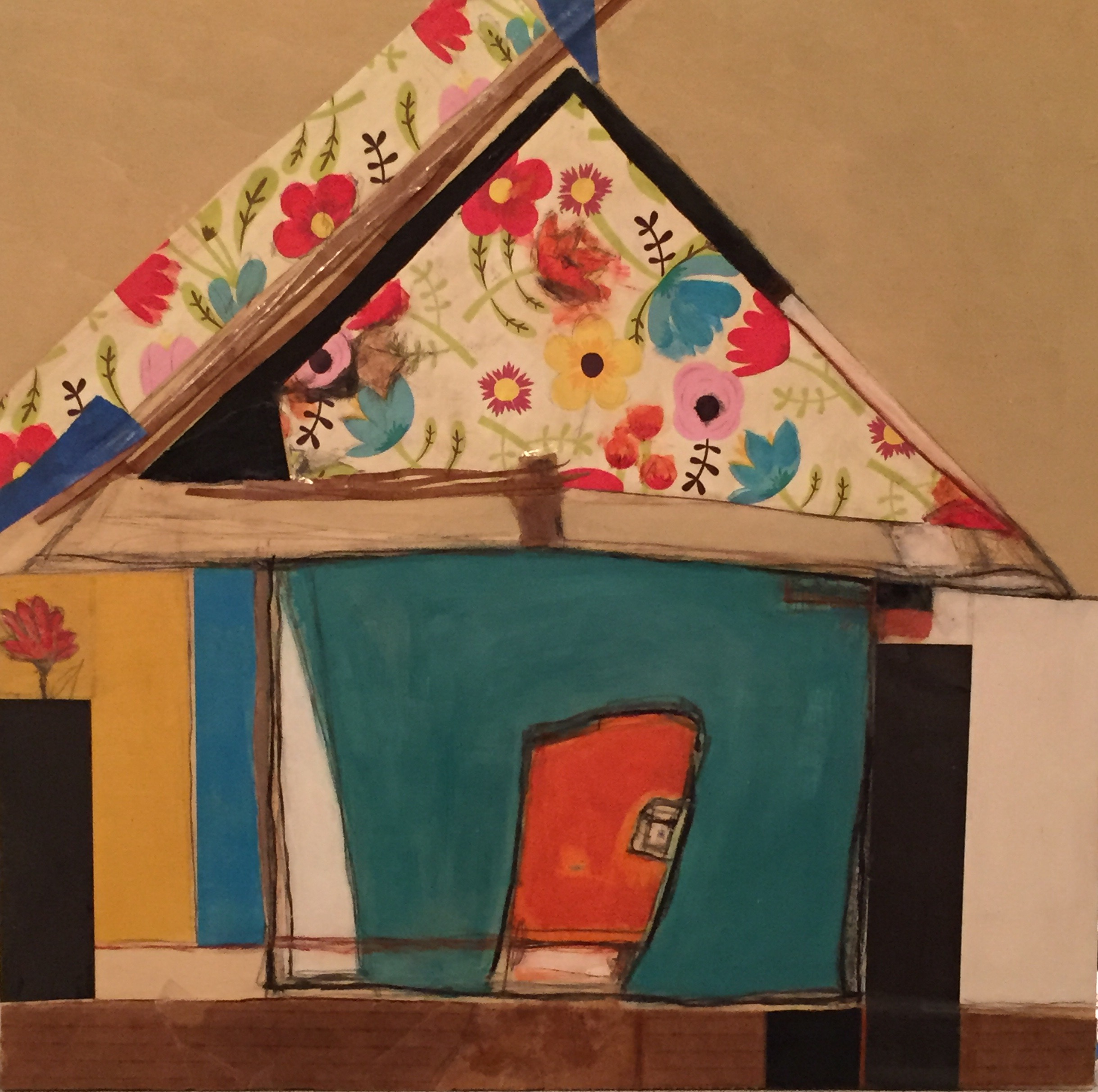 "Karla Quattrocchi ,  House with Roof Garden , acrylic, oil, pencil, pastel, plastic, wallpaper, cardboard, tape, leather, tar, shellac on panel, 16"" x 16"", $475"