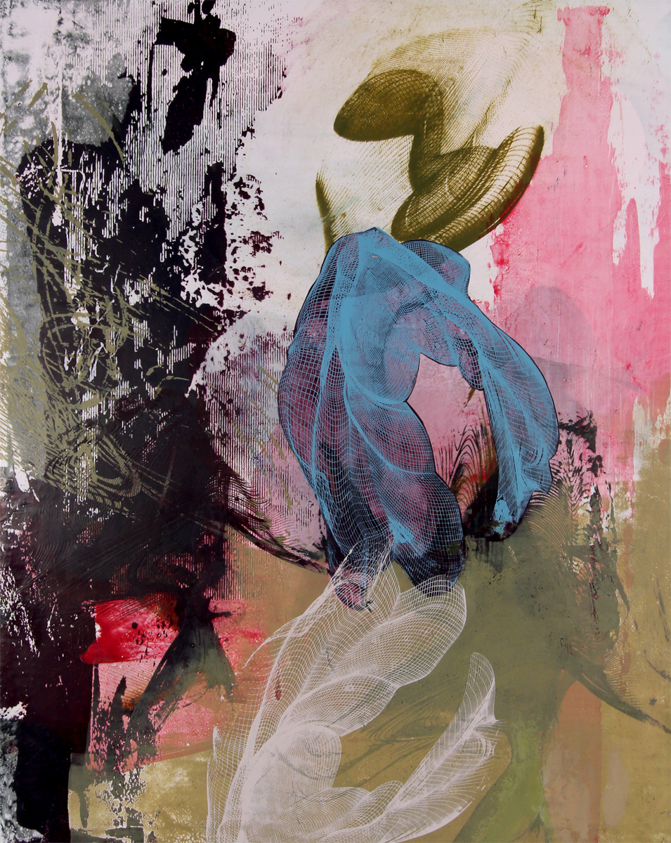 "Dorothea Van Camp ,  Untitled 1650 , screenprinted oil and wax on linen over panel, 20"" x 16"", sold"