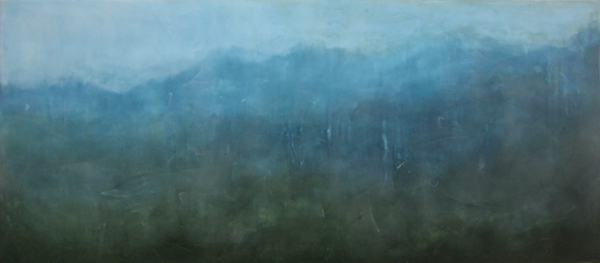 "Skyline , encaustic and oil on board, 18½"" x 41½"" framed"