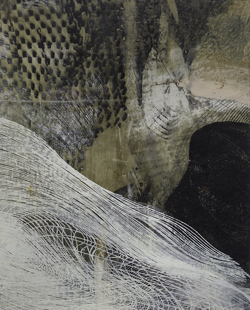 """Untitled 1693 , screen printed oil and wax on paper, 14"""" x 12"""" matted, sold"""