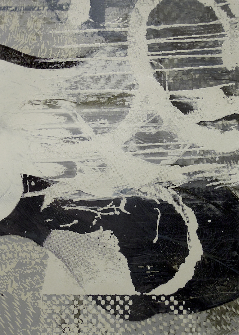 """Untitled 1696 , screen printed oil and wax on paper, 15 3/4"""" x 12 3/4"""" matted, $180"""