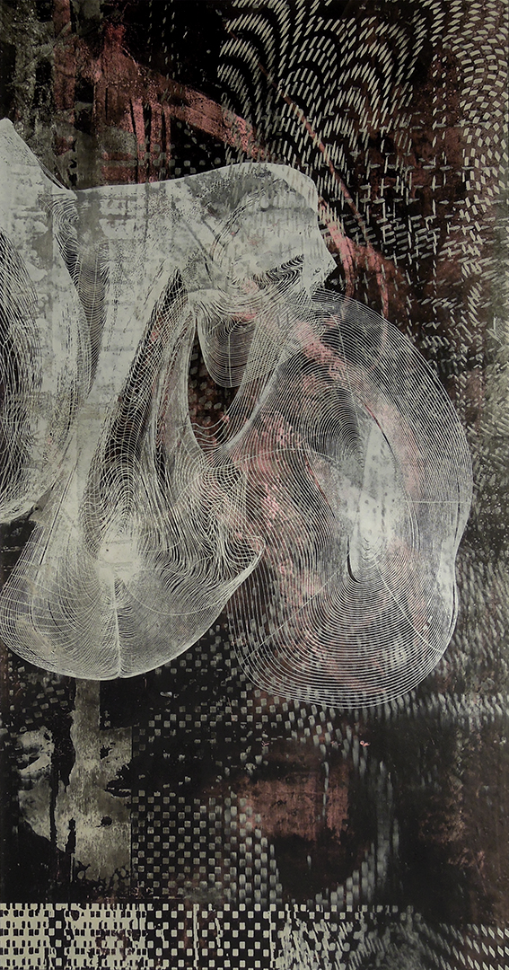 """Untitled 1698 , screen printed oil and wax on paper, 22"""" x 13 1/2"""" matted, $360"""