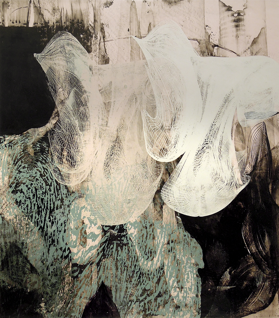 """Untitled 1699 , screen printed oil and wax on paper, 22"""" x 20"""" matted, $680"""