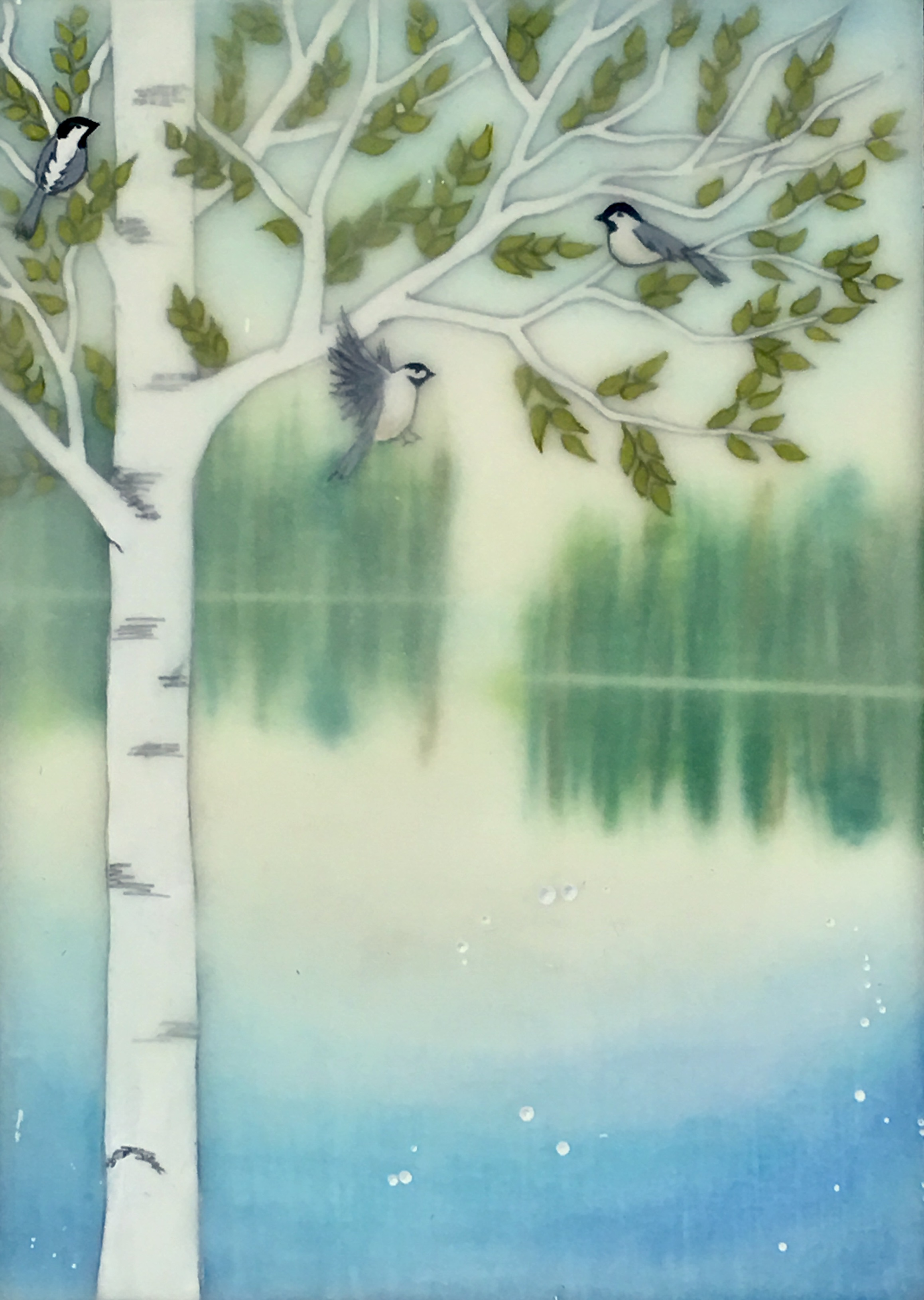 "Chickadee Dee , encaustic, pastel, rice paper and gouache on birch panel with reclaimed beach fence frame, 7 1/2"" x 5 1/2"" framed, sold"