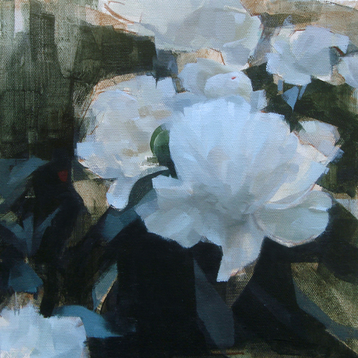"""Peony Landscape , oil on canvas, 12 1/4"""" x 12 1/4"""" framed, sold"""