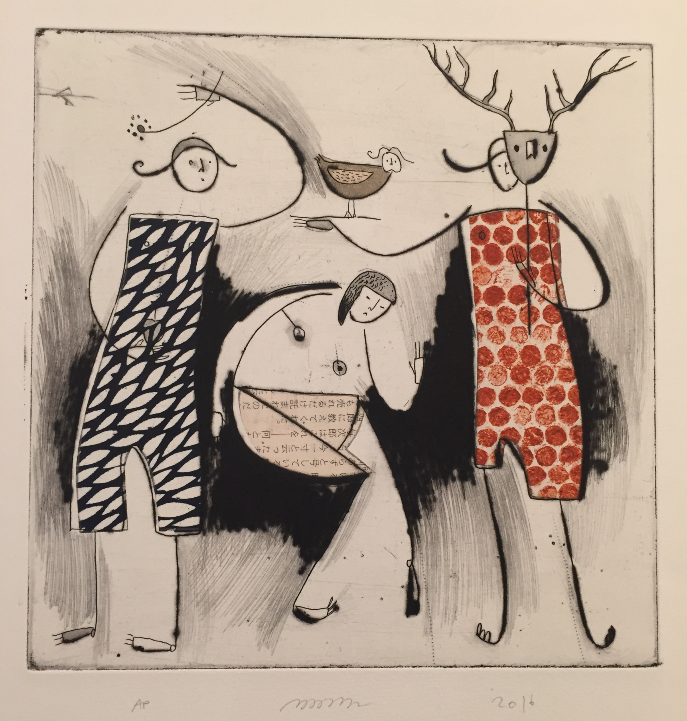 """Flower and Stag , etching, drypoint, and chine-collé, 15 1/2"""" x 11 1/4"""", $300"""