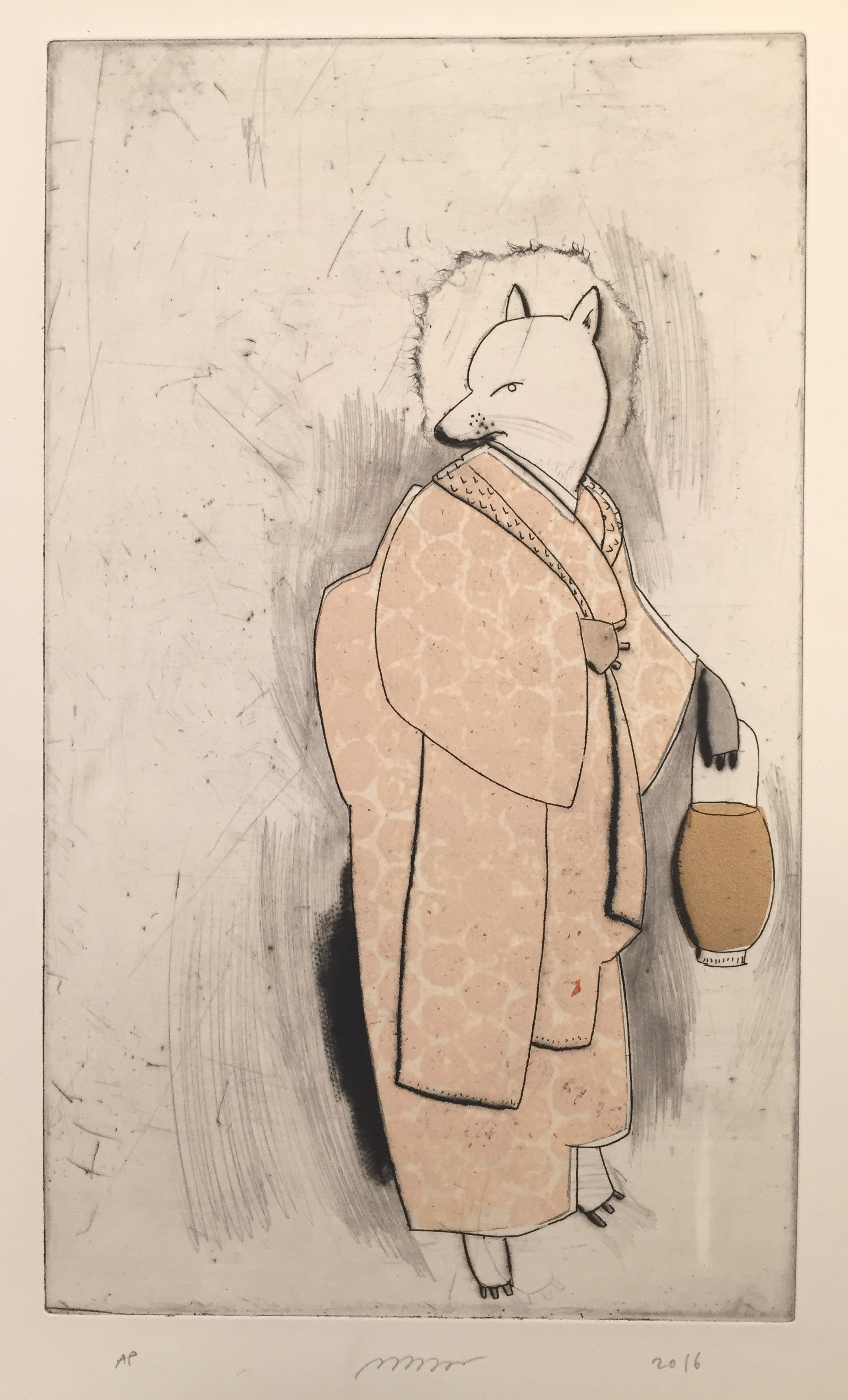 """Large Kitsune , etching, drypoint, and chine-collé, 15 1/2"""" x 11 1/4"""", $300"""