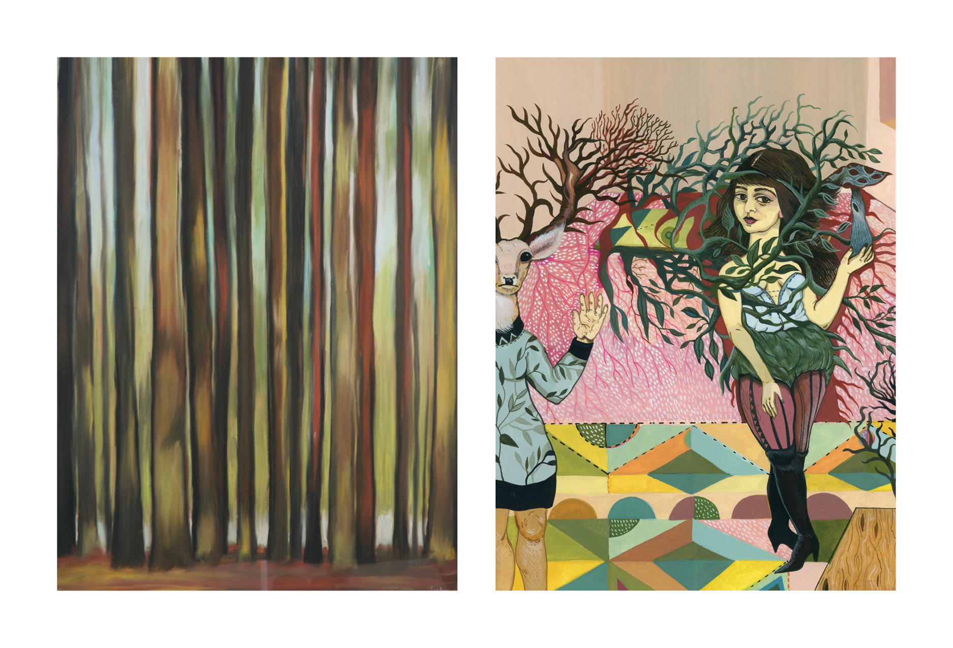 Left:  Andrea Tishman ,  Quitticas , pastel and charcoal on sanded paper Right:  Boriana Kantcheva , detail from  Pink Room , gouache on paper
