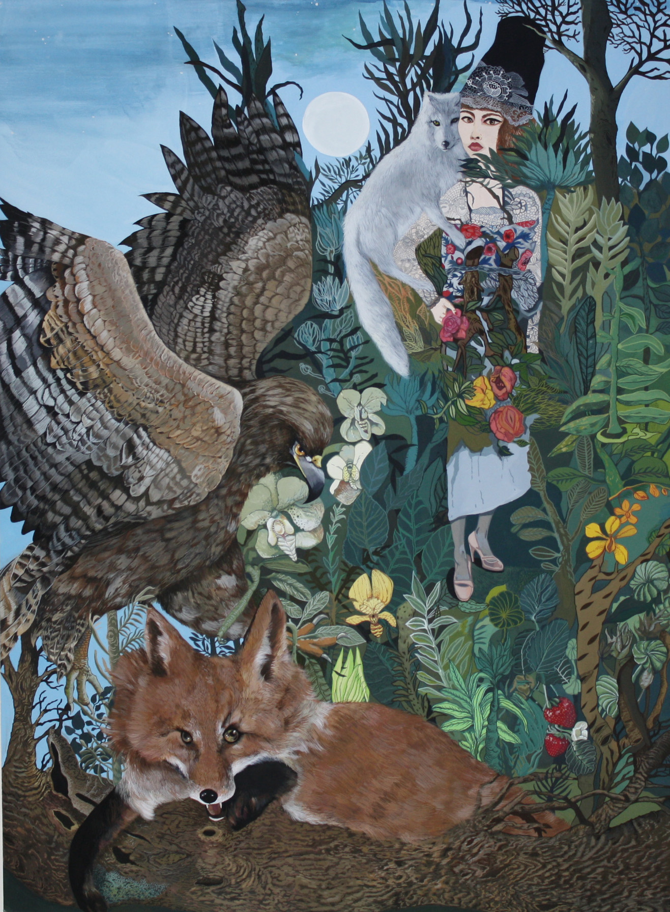 """Boriana Kantcheva,  Untitled (  Forest Friends) , gouache on paper, 32"""" x 24 1/4"""" framed, sold"""