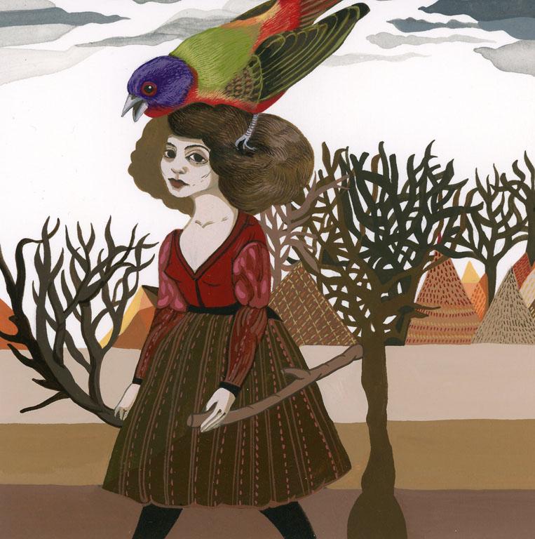 "Boriana Kantcheva,  Fall , gouache on paper, 10"" x 10"" framed, sold"