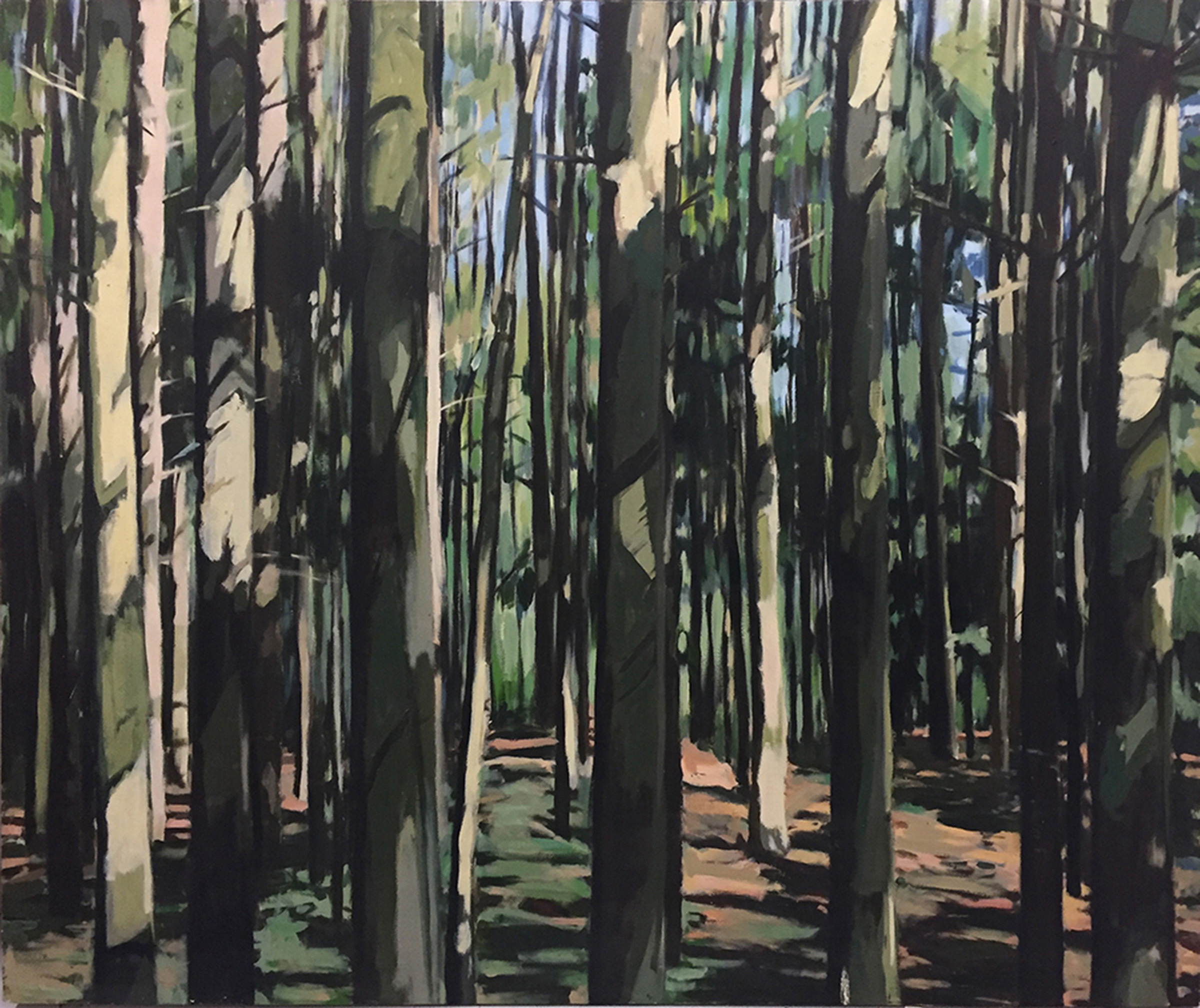 """Andrea Tishman, If a Tree Falls , oil on canvas, 60"""" x 72"""", $4,000"""