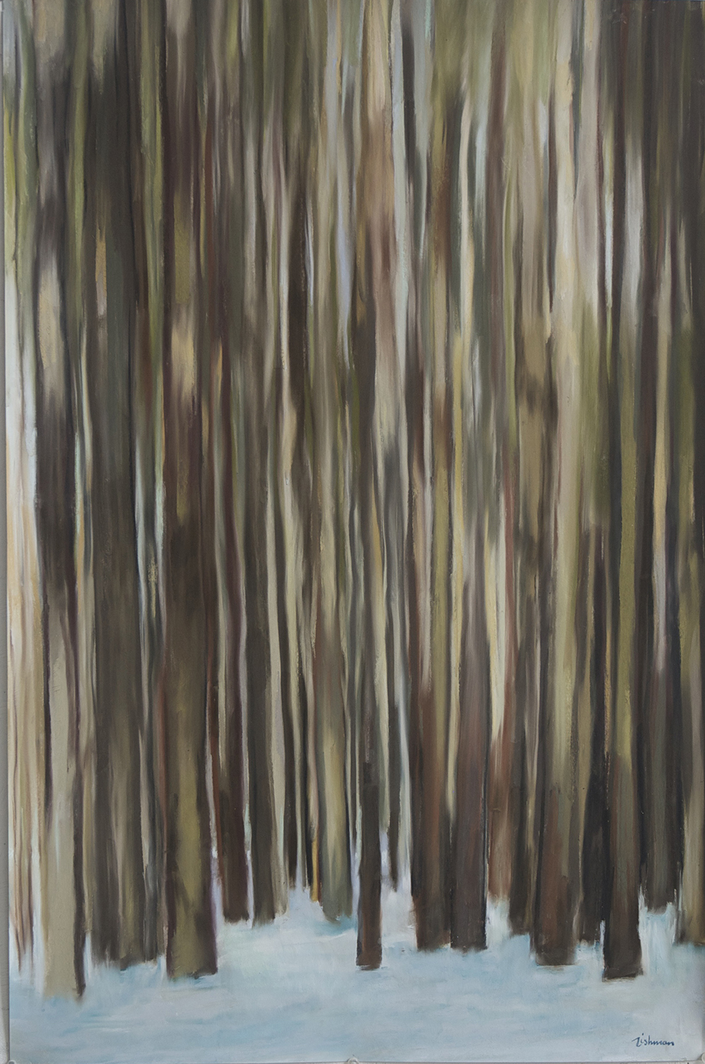 """Andrea Tishman, Winter Woods , pastel and charcoal on sanded paper, 43"""" x 31"""" framed, $2,000"""