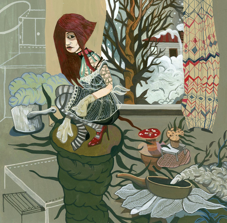 "Boriana Kantcheva, Winter , gouache on paper, 10"" x 10"" framed, $450"