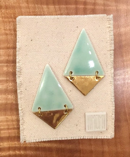 Two-tiered hanging stud earrings, porcelain with celadon glaze over gold luster, 14k gold filled post, sold
