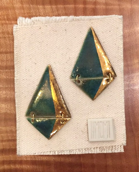 Two-tiered hanging stud earrings, porcelain with dark turquoise glaze and gold luster accent, 14k gold filled post
