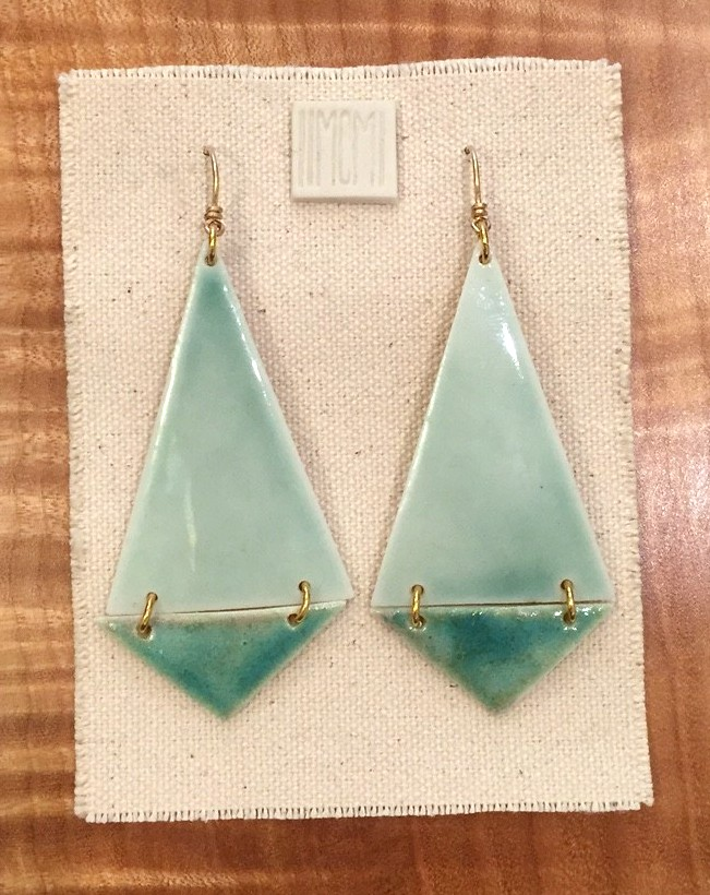 Large two-tiered hinged earrings, porcelain with celadon and aquamarine glaze, 14k gold filled hardware and handmade ear-wire, $110
