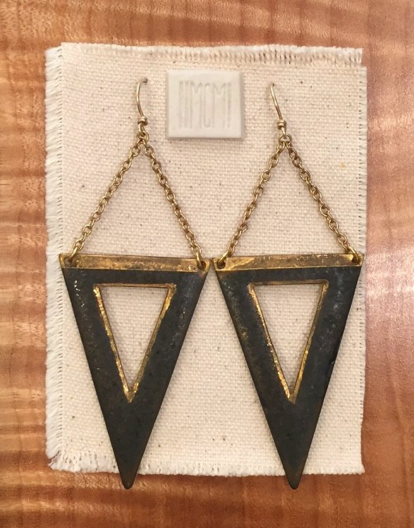 Large open triangle earrings, porcelain with metallic black glaze and gold luster accents, 14k gold filled chain and handmade ear-wire, sold