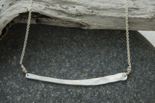 Whale Bone  necklace, hammered silver, $70