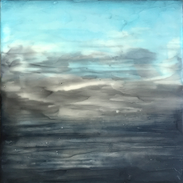"Cloudline , encaustic on board, 12"" x 12"" framed"