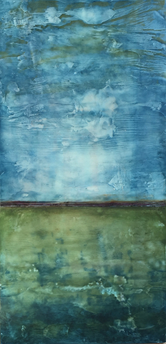 "Moss , encaustic and oil on board, 24"" x 12"" framed, sold"