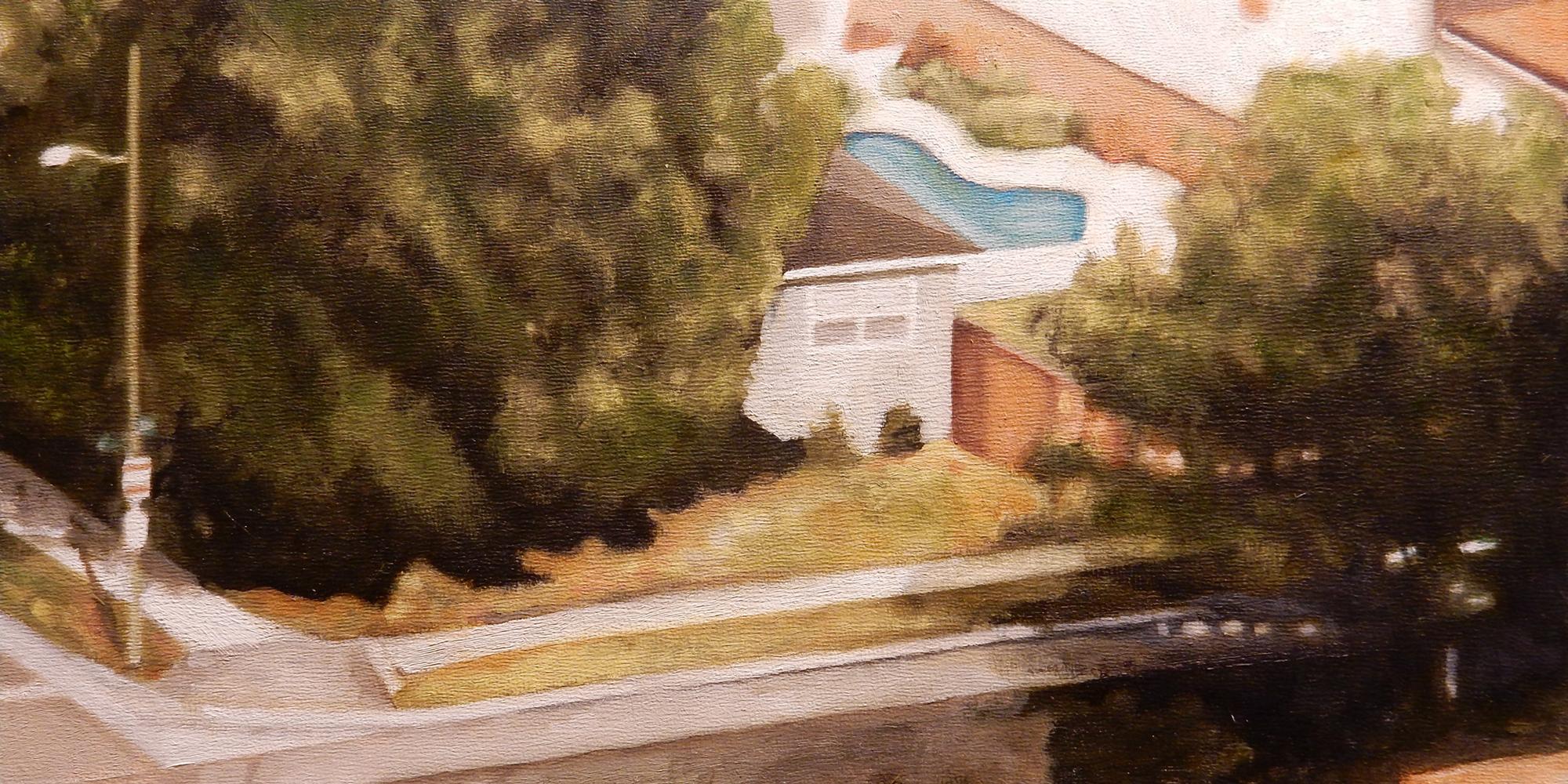 """Long Beach Descent 1 , oil on panel, 9"""" x 15"""" framed, $650"""