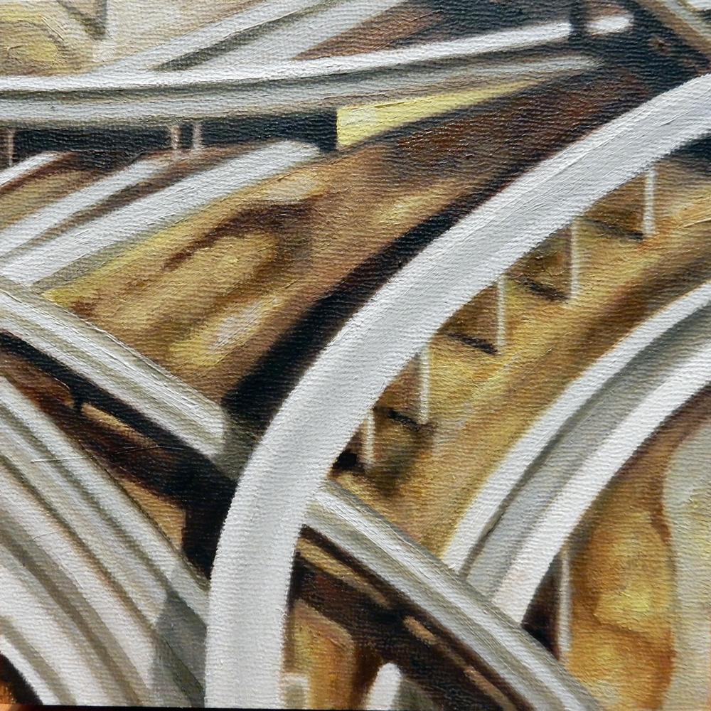 "Texas Overpass 2 , oil on panel, 9"" x 9"" framed, $350"