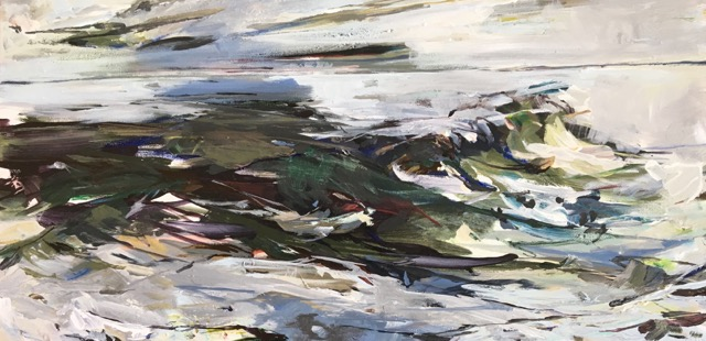 "Jeffrey Fitzgerald,  On and On , acrylic on canvas, 12"" x 24"", $900"