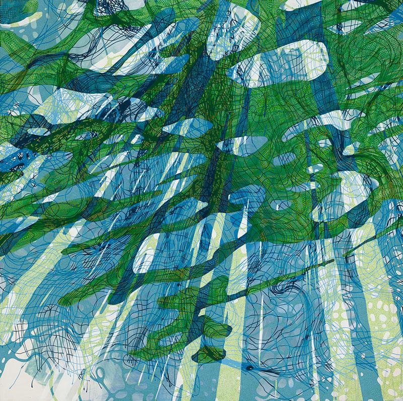 "Lynda Schlosberg, Breeding Ground , acrylic on panel, 36"" x 36"", $4,500"