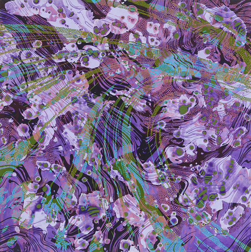 """Lynda Schlosberg, Shifting Potential , acrylic on panel, 24"""" x 24"""", $2,400"""