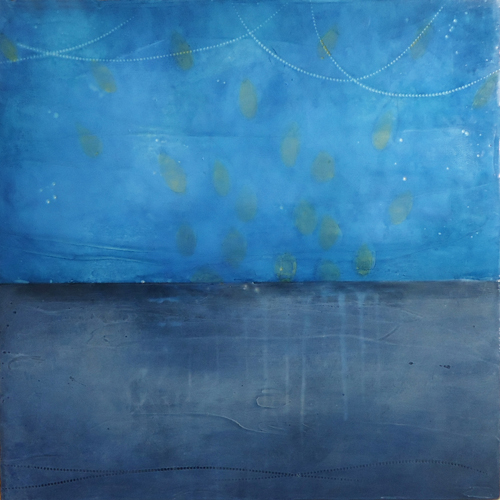 "Dark Water , encaustic and oil on board, 16"" x 16"", sold"