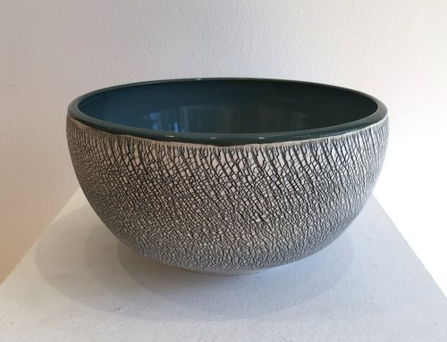 "Large wheel-thrown and hand-altered serving bowl with teal interior and teal crackle, 8"" x 8"" x 4"", $125"