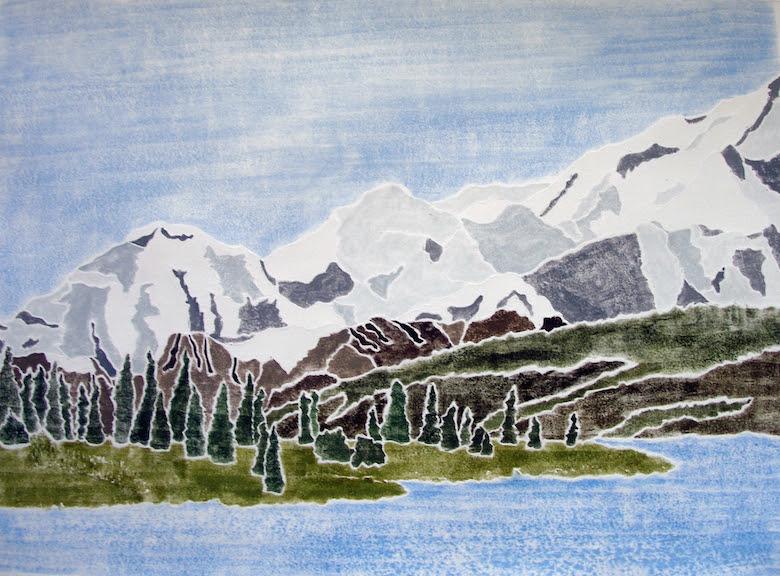 """Alaska Range,  white line woodcut monoprint, 18¼"""" x 22 ½ """" framed, $450"""