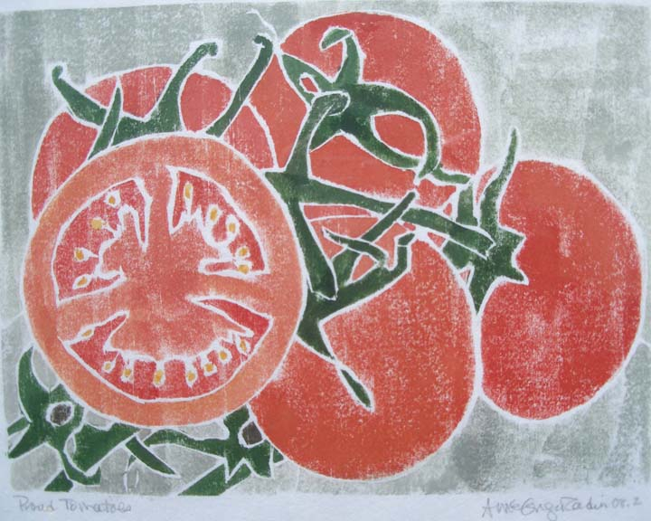 "Proud Tomatoes,  white line woodcut monoprint, 11¼"" x 13"" matted, $95"