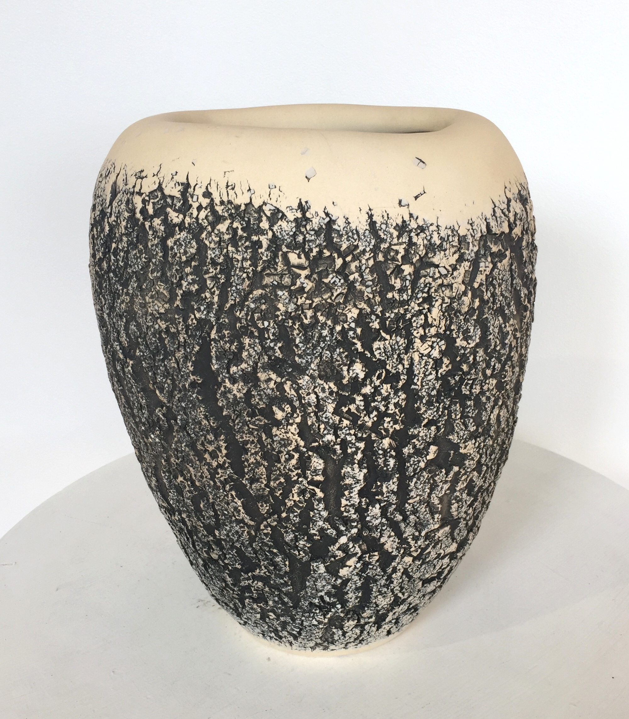 "Extra large bark stoneware hand-built vessel, 12"" x 9"", $450"