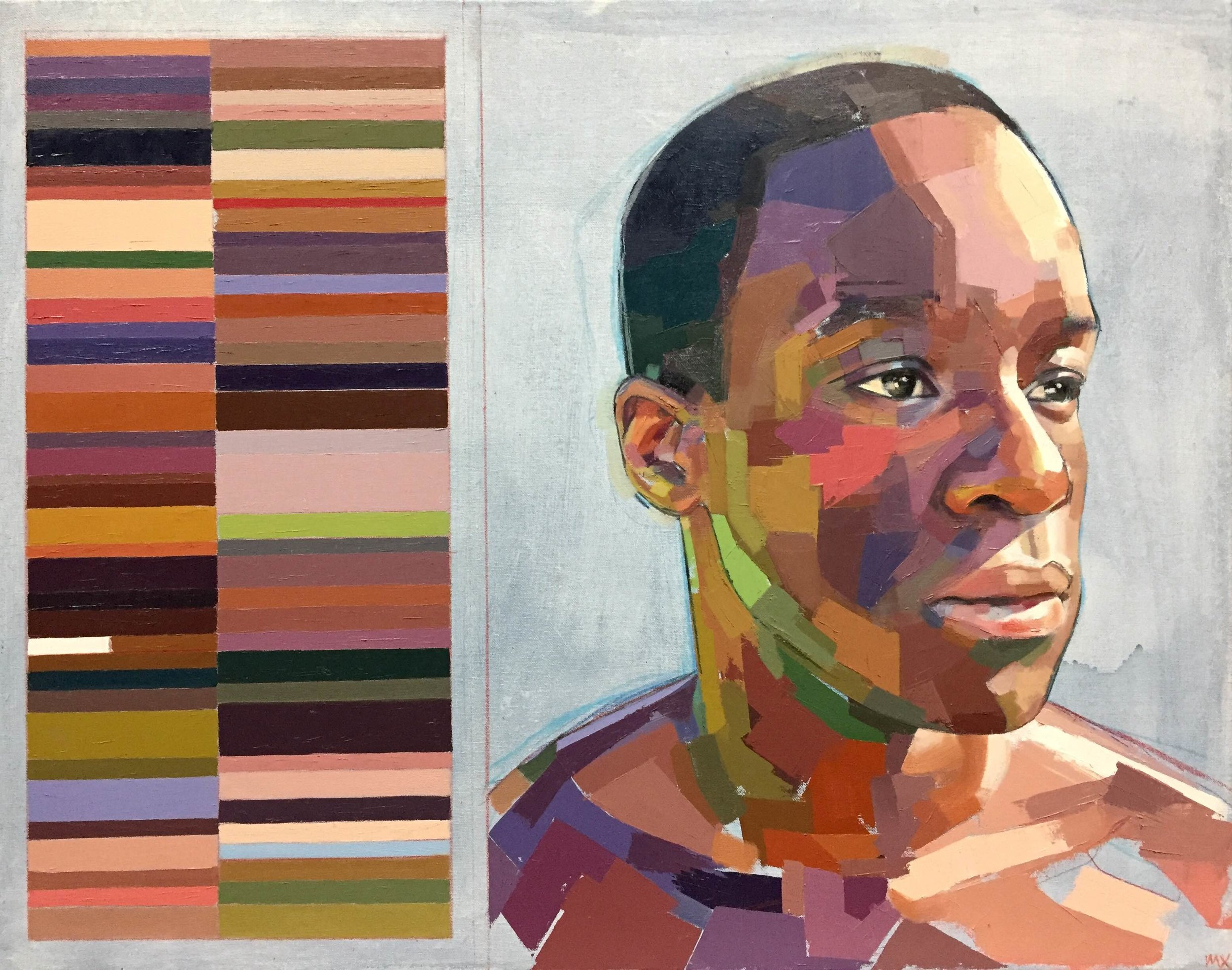 """Fhiwa and His Swatches , oil, acrylic and colored pencil on canvas, 22"""" x 28"""", sold"""