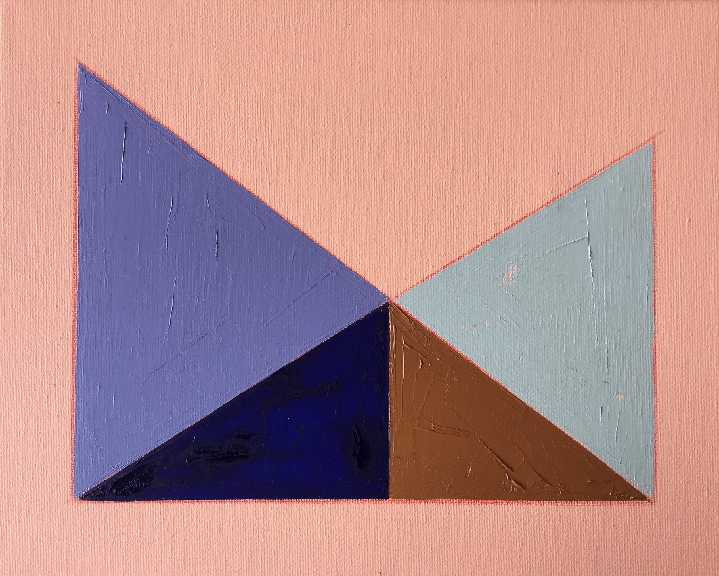 """Color Study on Pink No. 2 , oil, acrylic and colored pencil on canvas, 8"""" x 10"""", $250"""
