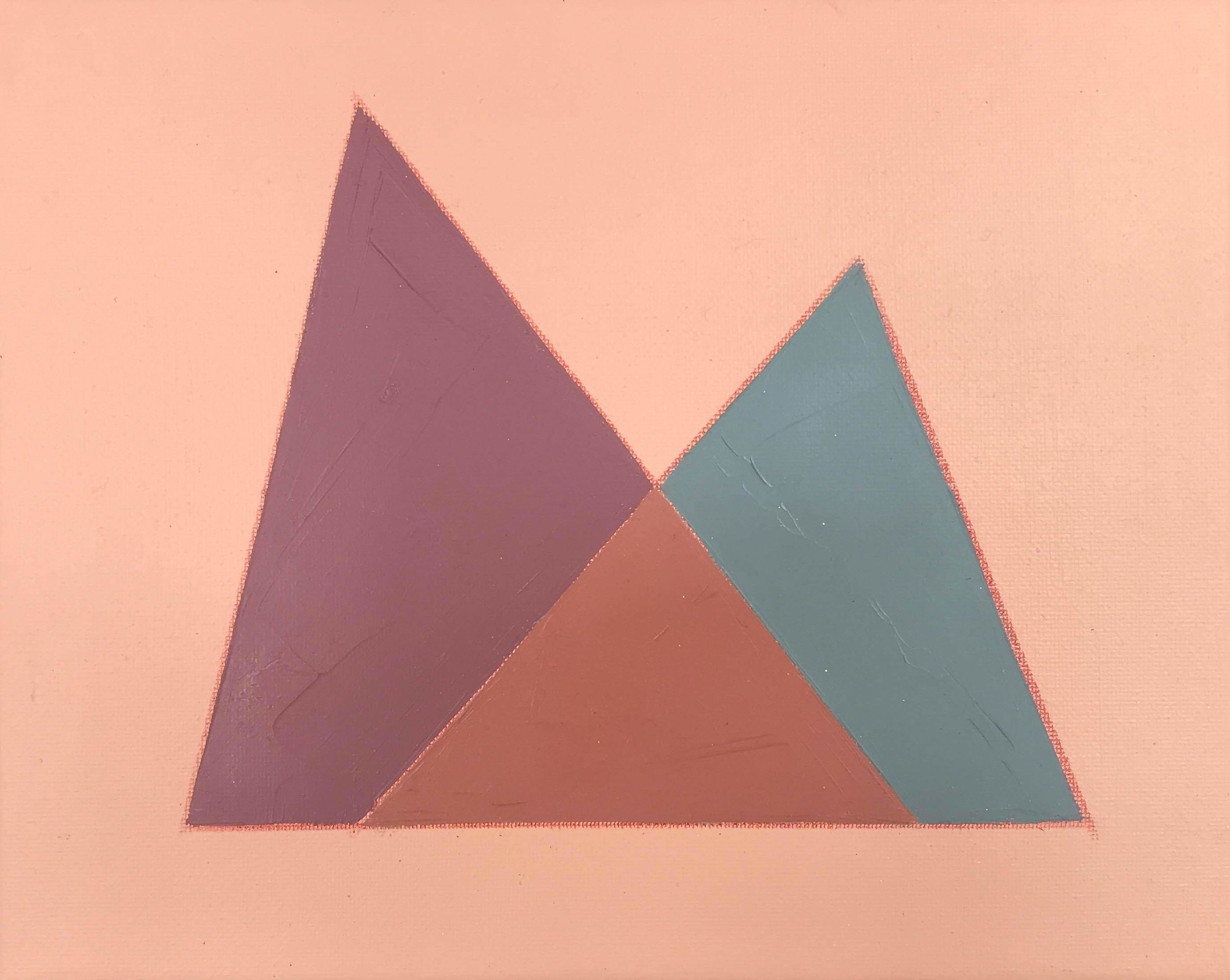 """Color Study on Pink No. 3 , oil, acrylic and colored pencil on canvas, 8"""" x 10"""", $250"""