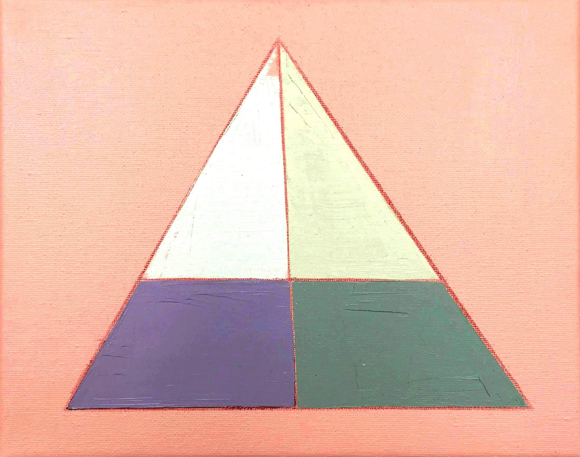 """Color Study on Pink No. 4 , oil, acrylic and colored pencil on canvas, 8"""" x 10"""", $250"""