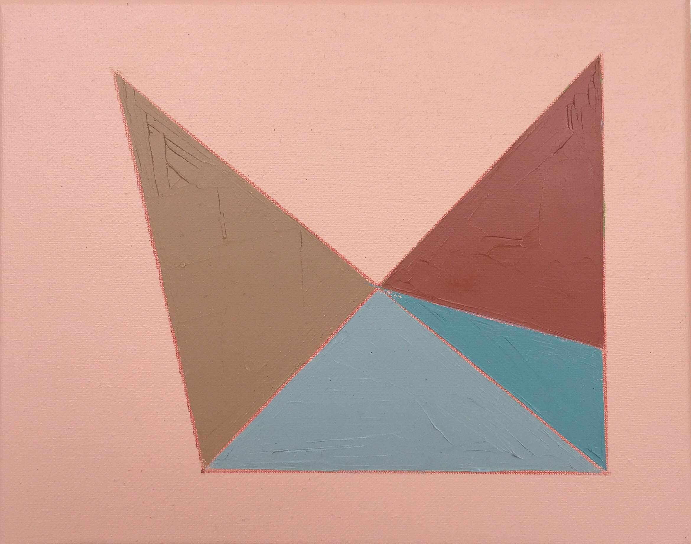 """Color Study on Pink No. 5 , oil, acrylic and colored pencil on canvas, 8"""" x 10"""", $250"""