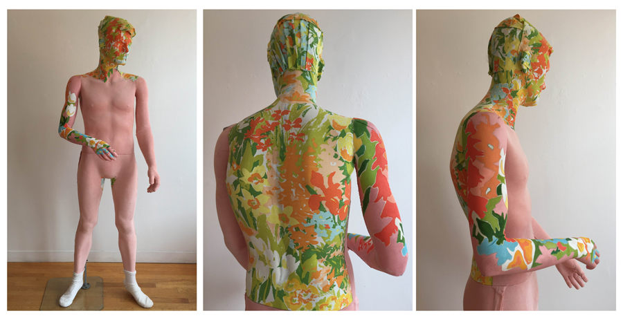 """Floral Man , mannequin, fabric, canvas, acrylic, colored pencil, 72 1/2"""" x 18"""" x 22"""", $2,000"""