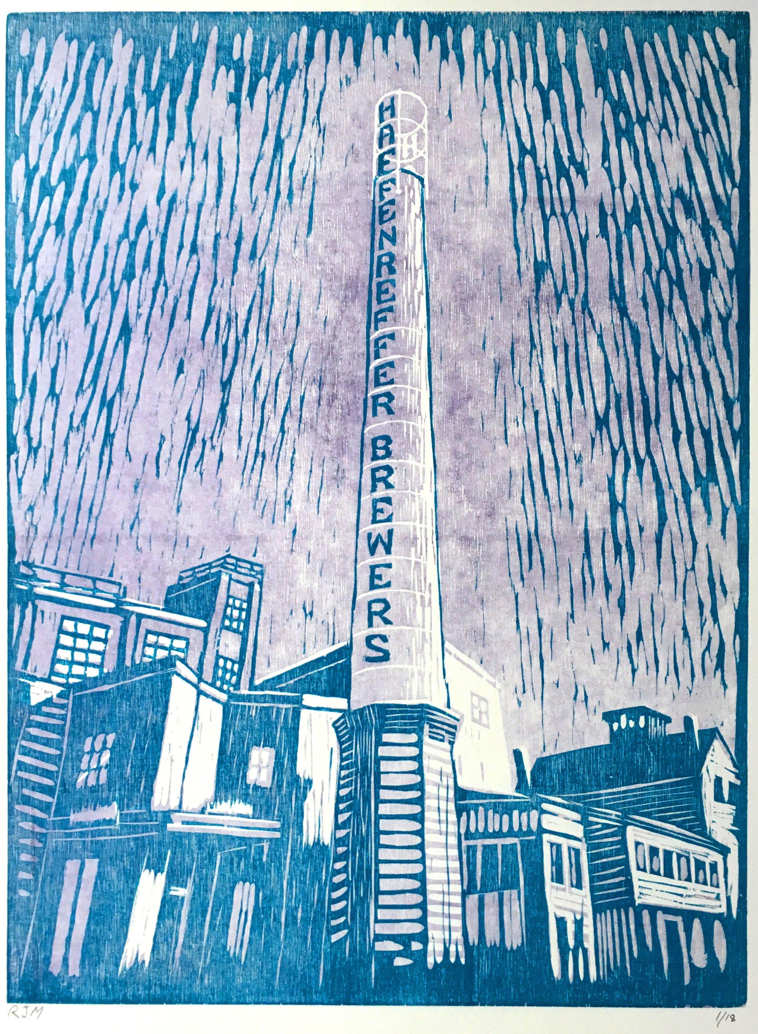 "Haffenreffer Restoration (5/18),  woodcut on paper , 19"" x 15"" sheet size,   $165"