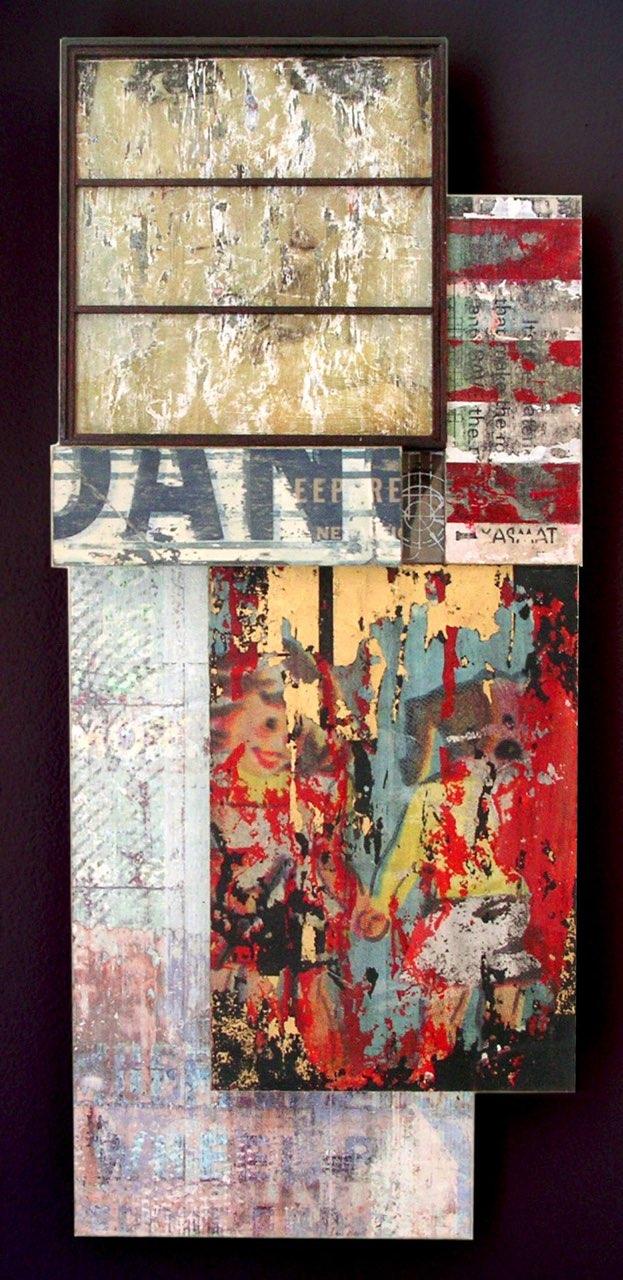 "Already Gone , digital composition transferred to wood, masonite, acrylic medium, sewing patterns, 19"" x 8"" x 3"", $800"