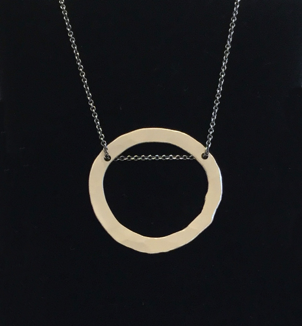 Thick irregular circle necklace , fine silver, $145