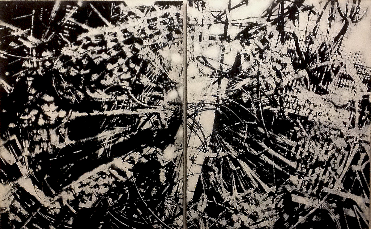 "Shattered Reality , hand-cut, multi-layered stencils with spray paint and enamel on two panels, 48"" x 96"""