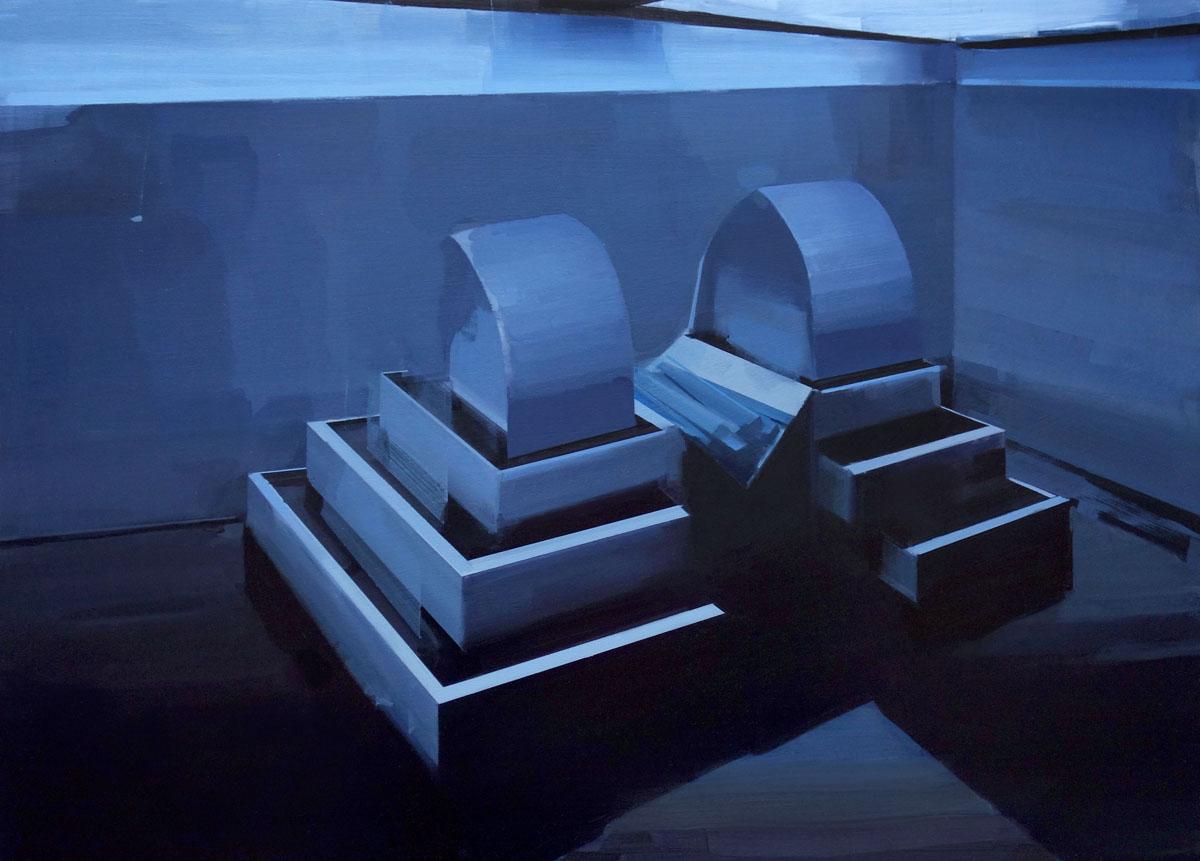 "Maruta (Waiting Pool), oil on masonite, 21"" x 29"" framed, $2,000"