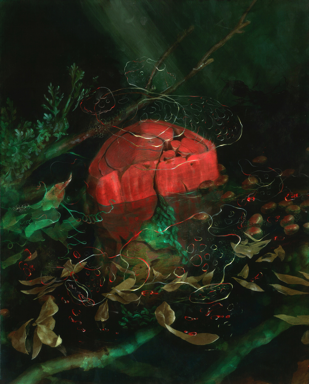 "Nicole Duennebier, Cadmium Swamp Floss , acrylic on panel, 20"" x 16"", $1,250"